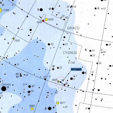 location of 16 Cygni B