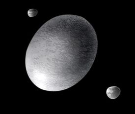 artist's impression of 2003 EL61 and its two moons