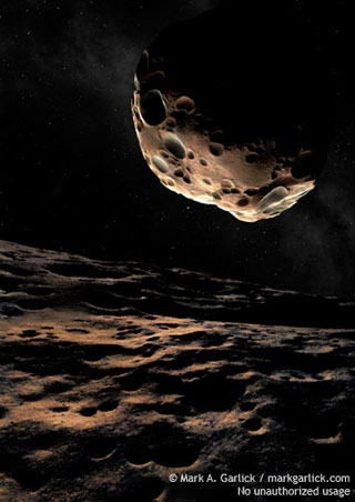 One of the components of the binary asteroid 90 Antiope as seen from the surface of the other, artist's rendering