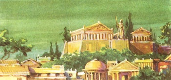 Artist's impression of an Achaean town with an acropolis and other fine buildings
