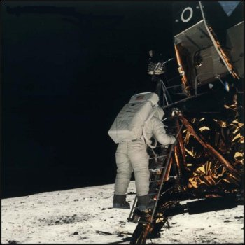 Buzz Aldrin descending ladder of Apollo 11 Lunar Module