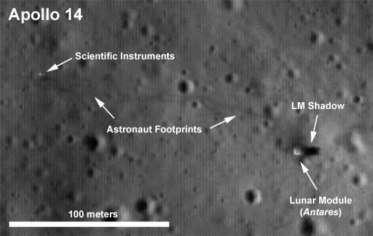 Apollo 14 landing site imaged by the Lunar Reconnaissance Orbiter from orbit