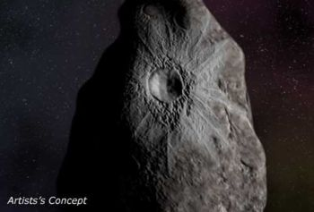 artist's impression of crater on Asbolus