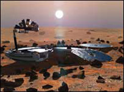 Simulated view of Beagle 2 on Mars