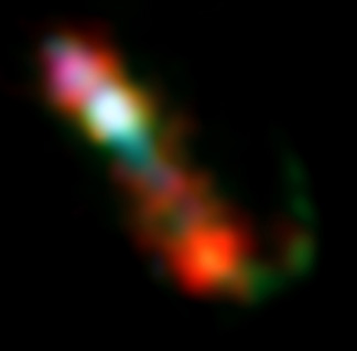Jet activity in CH Cygni seen in this composite image using data from Chandra, HST, and VLA