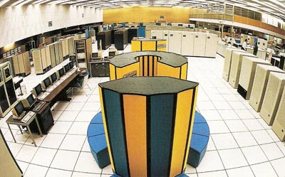 A Cray X-MP/48 supercomputer at CERN, the European center for particle physics research near Geneva, Switzerland, in 1994
