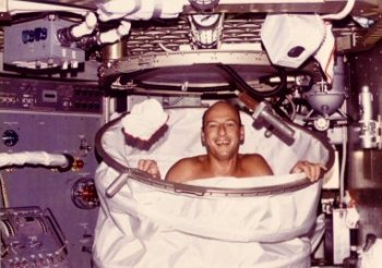 Conrad in the Skylab shower