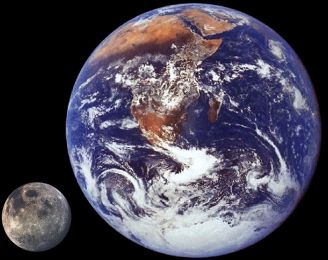 Sizes of Earth and Moon compared
