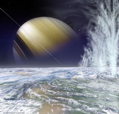 Artist's conception of Enceladus ice volcanoes