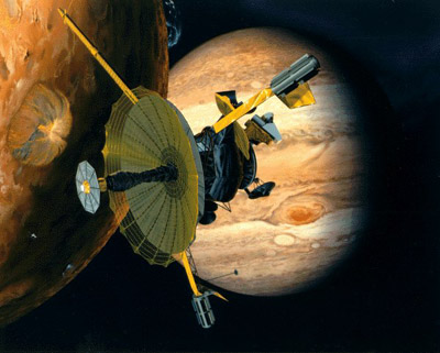 Artist's impression of Galileo flying past Io
