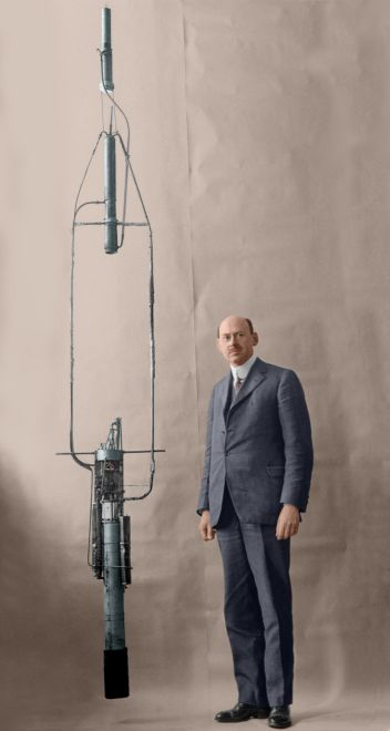 Robert Goddard and his pioneering liquid-powered rocket