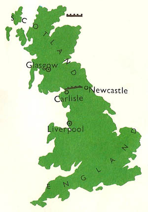 The course of Hadrian's Wall