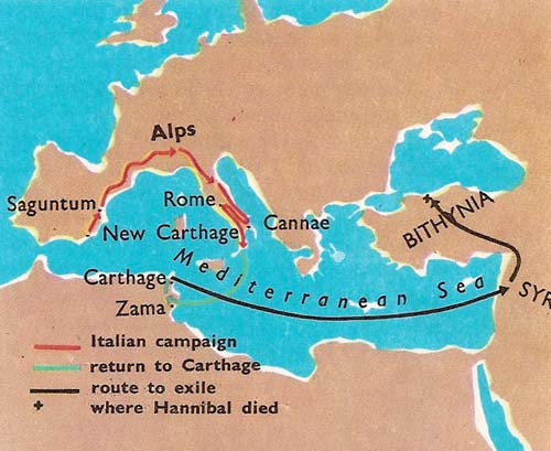 Route of Hannibal's campaign in Italy and his journey into exile