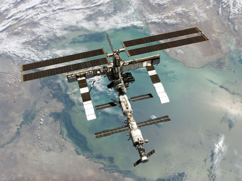 International Space Station from shuttle Discovery in 2006