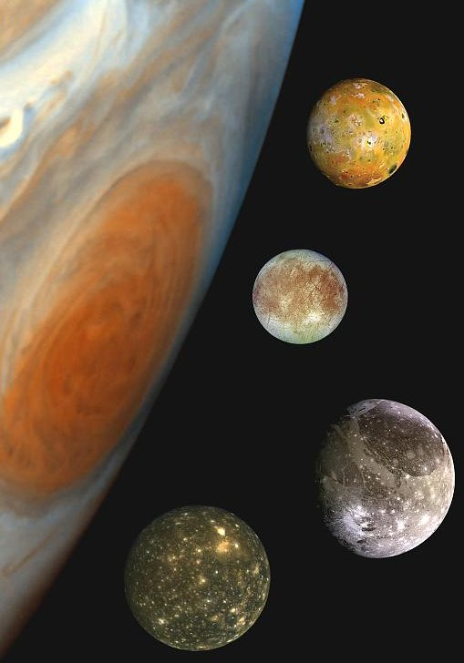 the four largest (Galilean) moons of Jupiter