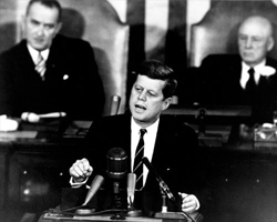 Kennedy delivering his famous Moon speech