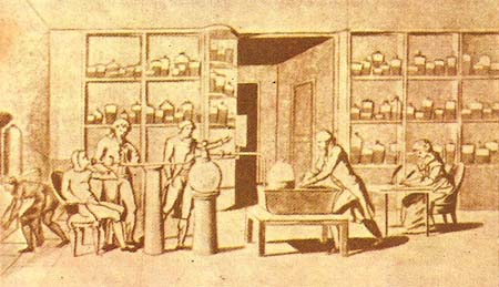 Lavoisier carrying out an experiment on combustion in the human body (from an old print)