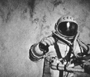 Alexi Leonov conducts the first spacewalk in history on March 18, 1965, during the Voshkhod 2 mission