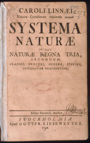 The book in which Linnaeus introduced his system of classifying living things, first published in 1735.