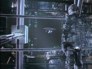 Locutus on the Borg ship bridge