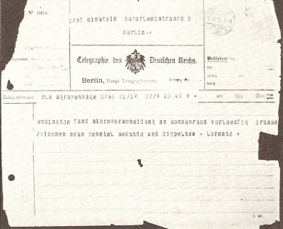 Telegram from Lorentz to Einstein