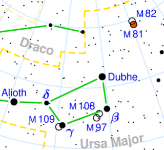 map showing position of M81