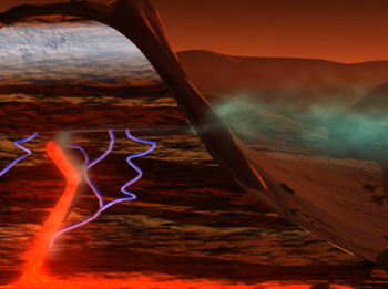 Artist's concept of how methane might be formed on Mars geologically