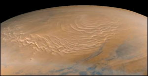 The north polar cap of Mars as seen by Mars Global Surveyor on September 12, 1988