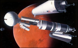 artist impression of a manned nuclear-propelled spacecraft in Mars orbit