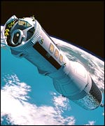 artist impression of a manned nuclear-propelled spacecraft in Earth orbit