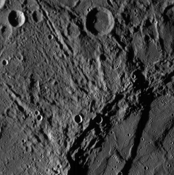 closeup of Mercury's surface by MESSENGER
