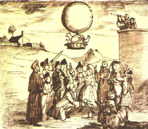 Montgolfier balloon carrying animals