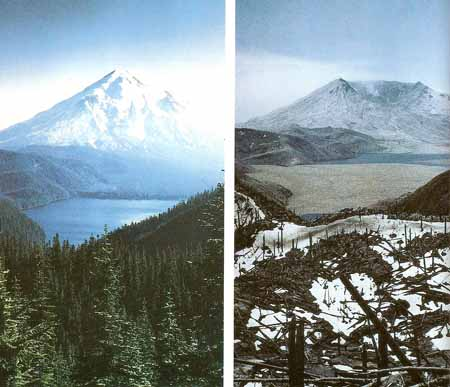 Mount St. Helens before and after the 198 eruption