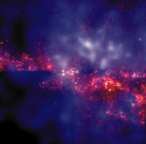 Using Chandra and the Hubble Space Telescope, astronomers have mapped the giant halo of hot gas that extends above the disk of the spiral galaxy NGC 4631. It turns out that there is a close correlation between the outflows of hot gas seen in X-rays and the galaxy's magnetic field revealed by radio emission. Image: NASA