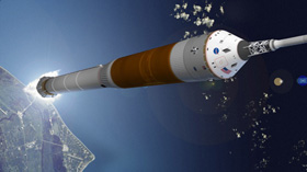 Orion heading for orbit atop its rocket booster