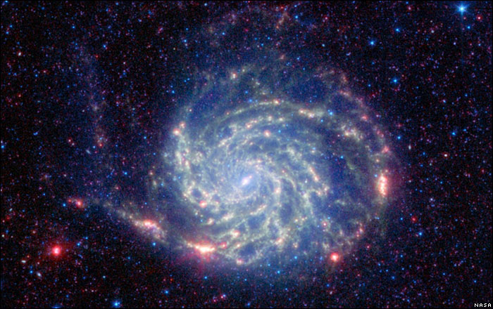 The Pinwheel Galaxy imaged by the Spitzer Space Telescope
