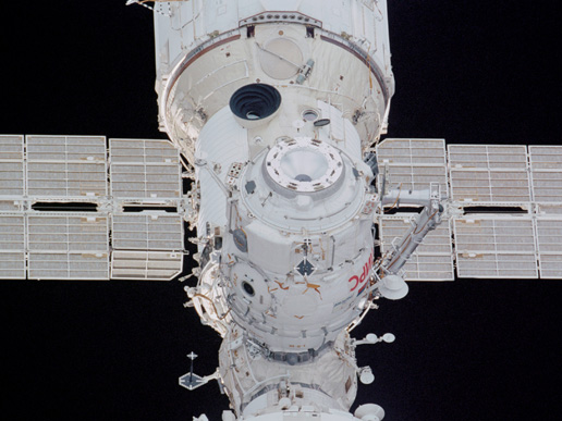The Pirs Docking Compartment on the ISS photographed by a crewmember aboard the Space Shuttle Endeavour in December 2001