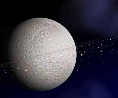 artist concept of ring system around Rhea