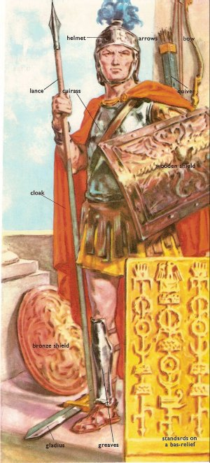 Roman soldier and arms