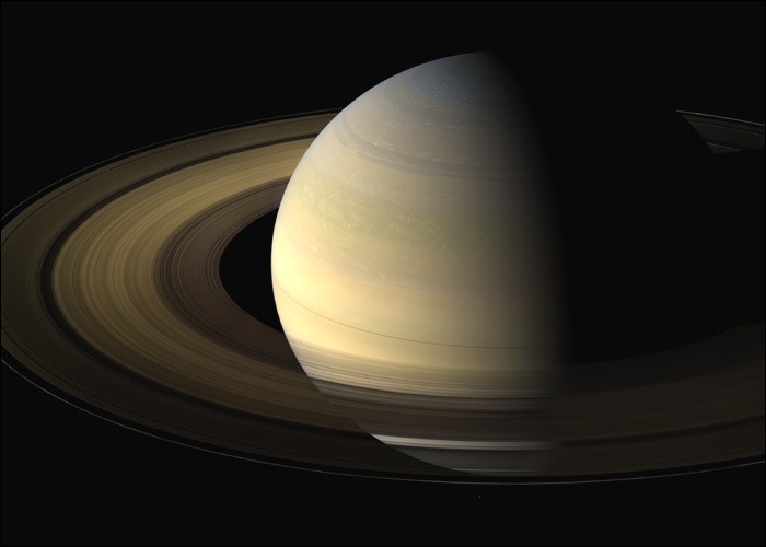 Saturn and its rings close to equinox