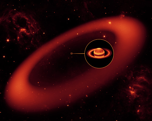 Saturn's giant infrared ring