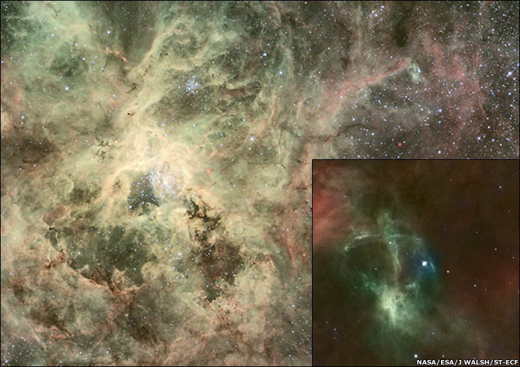 Tarantula Nebula and close-up showing ejected star