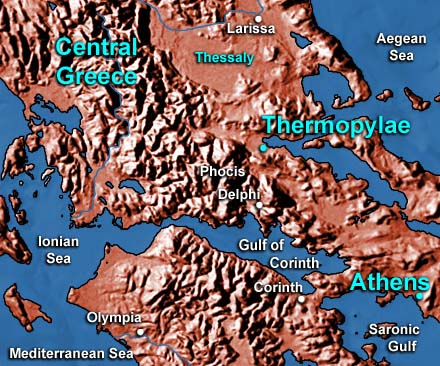 map of Greece showing location of Thermopylae