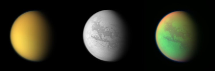 Three views of Titan from observations by the Cassini              spacecraft