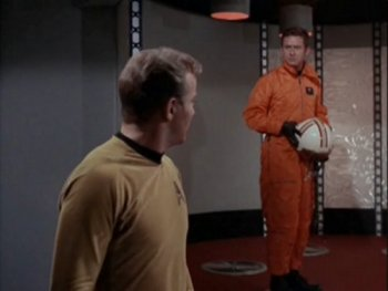 Captains Kirk and Christopher in Star Trek Tomorrow Is Yesterday