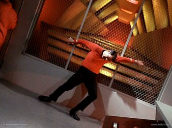 Scotty struggles to keep his feet during the breakaway sequence in Star Trek Tomorrow Is Yesterday