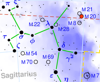 location of Trifid Nebula in Sagittarius