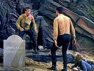 Kirk and Mitchell fight in Where No Man Has Gone Before