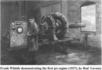 Whittle testing the first jet engine in 1937