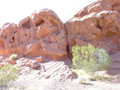 Wind-eroded Aztec Sandstone outcrops              in the Redstone area of Lake Mead National Recreation Area, Nevada